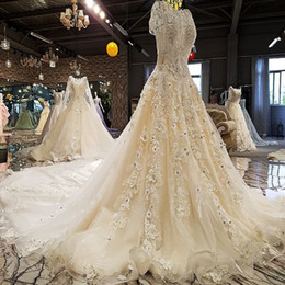 China wedding shop online shopping - LS00214 long train wedding dress luxury lace beading short sleeves flowers Illusion a line wedding gowns shop online china