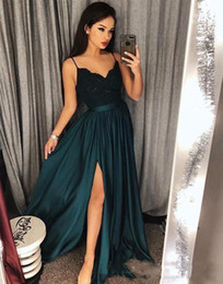 prom dresses slits cutouts NZ - 2018 Evening Gowns A-Line Blackish Green High Split Cutout Side Slit Lace Sexy Arabic Gowns Sweep Train Formal Party Prom Dresses