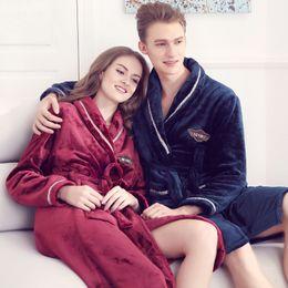 c0bf8ba602 Discount sexy couple sleepwear - Couples Sleep Robe Adult Winter Warm Sleepwear  Man s Flannel Robe Girls