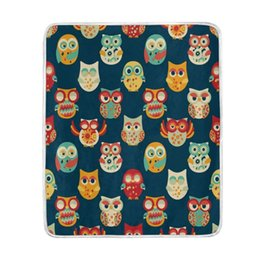 China Vintage Funny Owl Blanket Soft Warm Cozy Bed Couch Lightweight Polyester Microfiber Blanket Throw cheap adult owl bedding suppliers