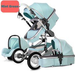 06e622585 Cochecito de bebé 3 en 1 cochecito plegable Alto cochecito de niño cuna  infantil Asiento de coche Bebés cesta para dormir Puede sentarse y mentir