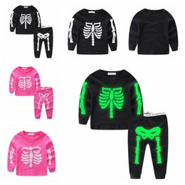 Wholesale Ins Halloween Kids Luminous Skeleton Tracksuits suits Night Light Long Sleeve Pullover Pants Outfit Baby Skull Clothing Sets GGA1163