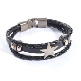 wholesale pentagram bracelets 2019 - Fashion Men Women Pentagram Star Leather Bracelet Vintage Braided Multilayer Black Brown Wrap PU Leather Bracelet Jewelr