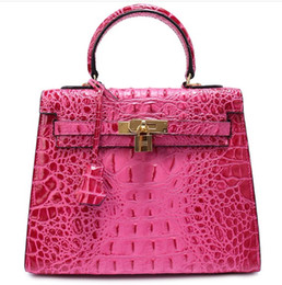 Discount italy women bags - crocodile handbag brand new bags shoulder tote 3D emboss ostrich wholesale women tote purse Italy CA France genuine leat