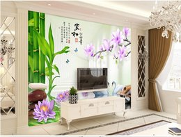 $enCountryForm.capitalKeyWord NZ - 3d room wallpaper on a wall custom photo Bamboo Magnolia Swan Space Home decoration living room 3d wall murals wallpaper for walls 3 d