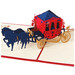 Kirigami Pop Up Card Love NZ - LHBL Wedding invitations love carriage 3D laser cut paper cutting Greeting Pop Up Kirigami Card Custom postcards Wishes Gifts