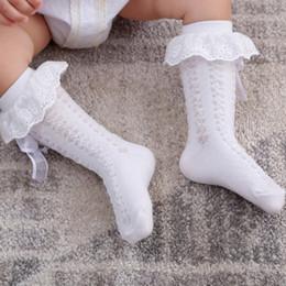 Discount toddler socks ruffles - Baby Girls Coon Lace Bow Ruffle Socks Infant Toddler Breathable Summer Thin Mesh Room Socks Baby Long Sweet Princess Soc