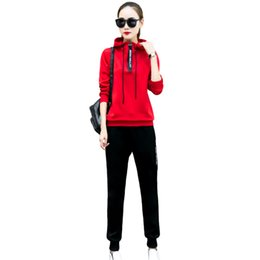 Chinese  New College Wind Women Hoodies Tracksuits Plus Size M -4xl Fashion Cool Design Lady Sportwear Hooded Sweatshirts +Pant Set Female manufacturers