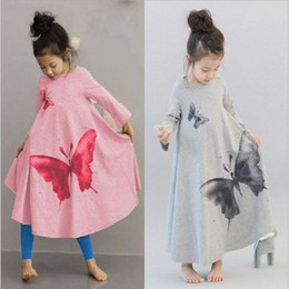 canvas prints free shipping NZ - New Bohemia children girls Large butterfly printing horn dresses cute princess Dresses 100-140cm baby clothing free shipping C728