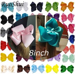 women hair bow clips Australia - 8 Inch Big Hair Bow Boutique Solid Grosgrain Ribbon Hairgrips Hair Clips Headwear Barrette Bowknot For Women Girls Accessories 10pcs Gift