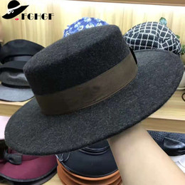 49e3287671b14 FGHGF Women s 100% Pure Wool Felt Hats Brand Vintage Style Wide Brimmed Hats  Dark Green Ribbon Ladies Flat Top Fedoras Black