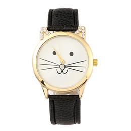 Cartoons watChes online shopping - Cut cartoon cat watch Diamond cat ear watches for women Luxury Female student watch leather quartz wristwatch