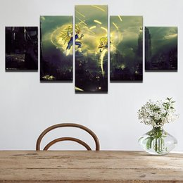 Background Prints Australia - New Style Canvas Painting 5 Panel Dragon Ball Prints Bedside Background Home Decor Wall Art Modular Picture Poster Hang Picture