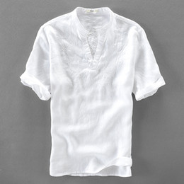 bcc7910d336b Italy handsome white shirt men linen short sleeve men shirts pure flax  fashion shirt mens solid casual shirts male loose camisa