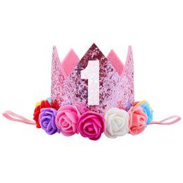 First Birthday Glitter 1st Flower Priness Crown Baby Pink White Purple  Birthday Hat Headband Cake Smash Girl Baby Shower Outfit 3df91577e747