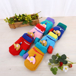 acrylic knitted mittens NZ - New Cartoon Cute Kids Knitted Gloves Colors Match With Elephant Doll Mitten For Baby 6 Colors For One Lot Wholesale