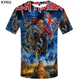 gothic clothing brands UK - KYKU Brand T shirt United Kingdom Tshirt war T-shirt artillery Tshirt Skull clothing 3d t shirt men Gothic clothes