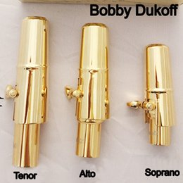 ligature alto sax 2018 - Brand New Bobby Dukoff Gold Plated Tenor Soprano Alto Saxophone Mouth Piece Sax Metal Mouthpiece + Cap + Ligature Size 5
