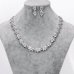 $enCountryForm.capitalKeyWord NZ - WEIMANJINGDIAN Brand Sparkling Cubic Zirconia CZ Crystal Zircon Flower Necklace and Earring Wedding Bridal Jewelry Sets S18101607