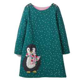 China Baby Girls Dress Unicorn Penguin Appliqued Christmas Dress Princess Long Sleeve Tunic 100% Cotton Dress Children Designer Kids Clothes cheap kids clothes multi color suppliers