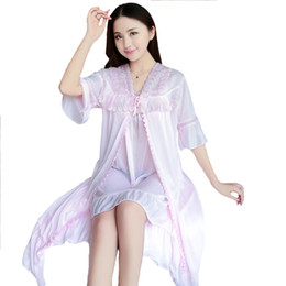 Discount chinese dress - Women Lace Wedding 2PCS Robe Set Summer New Nightgown Chinese Pink Sleepwear Satin Home Dress Sexy Casual Bathrobe Night