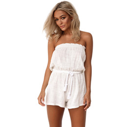 a584f12c762c Summer Beach Sleeveless Short Playsuit Solid Color Strapless Backless Lace  Up Jumpsuit Romper Women Sexy Off Shoulder Overalls