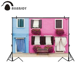 background photo props Canada - wholesale photography background small town lovely house facade bench backdrop photobooth photo studio photocall prop fabric