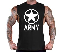 Discount wholesale army clothes - Mens ARMY Star Printed Fitness Gym Tank Tops Aerobics Clothing Male Sports Workout Sleeveless Body-hugging Vests