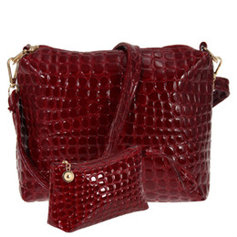 Chinese  2pcs set Women Messenger Bag Alligator Pattern PU Leather Casual Crossbody Bag Ladies Fashion Clutch Composite Handbags manufacturers