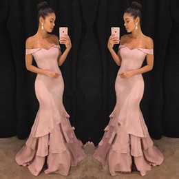 8246e052b3a8 2018 Elegant Satin Off The Shoulder Mermaid Long Evening Dresses Layered  Ruffle Backless Floor Length Formal Prom Party Dresses Custom Made