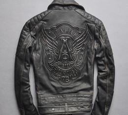 Men short sleeve leather jackets online shopping - Men s motorcycle leather jacket Frayed genuine leather HI SPEED Outwear coats lapel zipper HI SPEED A wings