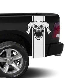 Per 2xDodge Ram Stripe Logo Graphic Decal Sticker Lato posteriore Camion letto in vinile Skull Camo