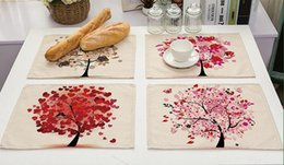 Trees food online shopping - Colorful Life Tree Placemat Kitchen Coffee Tea Table Mats Cotton Linen Food Mat Perfect Dinner Decoration