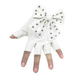 Leather Rivet Gloves Australia - 200PAIRS   LOT Big Bow Rivet Half Finger Gloves PU Leather Balck Sexy Dance Mitten Gloves