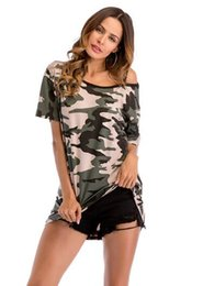 Wholesale shirt sex fashion online – design 2018 European and America Fashion women s T shirt camouflage off the shoulder long short sleeved sex t shirts female garment loose big yards