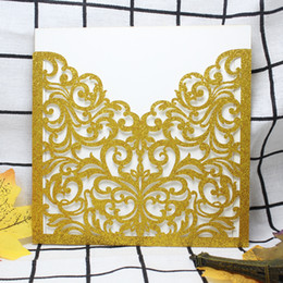 spring handmade decorations NZ - 2018 Western Hot Sale Romantic Gold Glittery Spring Flower Laser Cut Pocket Wedding Invitation Kits Decoration Chinese Handmade Supplies