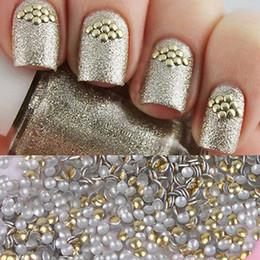 Discount golden 3d nail art - 1 Bag 1.5mm Golden Stud 3D Nail Decorations Acrylic UV Gel Rhinestones for DIY Manicure Nail art Decorations