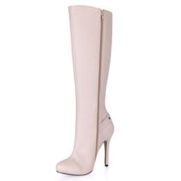 Опт Бежевый мода роскошные женские сапоги острым носом 12 см сапоги на высоком каблуке Zip дизайнер колено сапоги для женщин 100% новый, большой размер 43