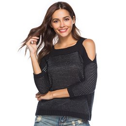 $enCountryForm.capitalKeyWord NZ - Women Autumn Winter Sweater Plus Size Knitted Jumper Female Pullover Oversize Seven Point Sleeve Short Sweater Exposed Shoulder