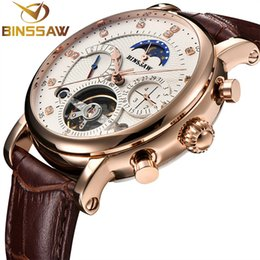 Mechanical Men Watch Sport NZ - BINSSAW Mens Automatic Mechanical Watch Top Luxury Brand Fashion Tourbillon Genuine Leather Man Sports Watches relogio masculino Y1892103
