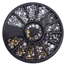 Discount 3d nail art accessories - 1 Box Flat Bottom Rhinestones 3D Nail Art Decorations In Wheel Mixed Size Manicure Studs Nail Art Accessories