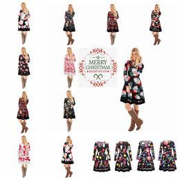 14 colors Autumn Winter Women Christmas Dress 2018 Plus Size Print Dress  Midi Elk Snowflake Long Sleeve A-Line Party Dress MMA547 12pcs 90c4b4020cd3