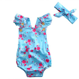 Wholesale Floral Blue Bodysuits Newborn Baby Girl Ruffles Flower Bodysuit Jumpsuit One Piece Backless Headband Clothes Sunsuit Summer Y