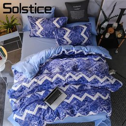 Wholesale Solstice Home Textile Blue Ocean Waves Bedding Set Kid Boy Linen Duvet Cover Pillowcase Bed Sheet Girl Teen King Twin Bedclothes