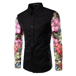 mens black shirt red stitching 2020 - New Brand Mens Shirts Long Sleeve Camisa Casual Skull Printing Stitching Cotton Shirt Social Clothing A17 discount mens