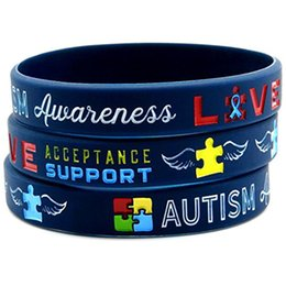 Venta al por mayor de 100 unids autismo conciencia médica alerta de goma de silicona deporte pulsera hombres pulsera envío gratis por ePacket