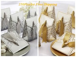 Wedding Gifts Silver Boxes Australia - Wedding and Party Favor boxes of Gold and Silver Ribbon Wedding gift boxes for wedding decoration favors 250pcs lot