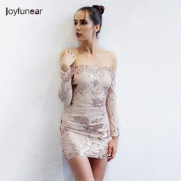 b6044506af25 20187 Joyfunear Autumn Sequin Dress Women Sexy V Neck Strapless Backless  Mini Dresses Elegant Bodycon Club Party Vestidos Gold Color