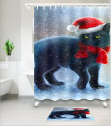 cat shower curtains NZ - Christmas cat pattern 3D Print Custom Waterproof Bathroom Modern Shower Curtain Polyester Fabric Bathroom Curtain Door mat sets