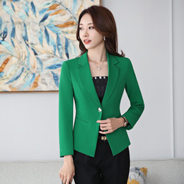 Office ladies jacket suits online shopping - LANLOJER Office Ladies Blazer Long Sleeve Blaser Women Suit Jacket Female Feminine Blazer Femme Black Caramel Green